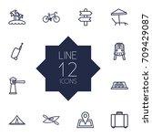set of 12 journey outline icons ... | Shutterstock .eps vector #709429087