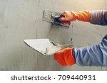 hand image worker concrete... | Shutterstock . vector #709440931