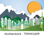 urban landscape and green eco... | Shutterstock .eps vector #709441609