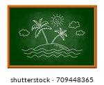 island drawing on blackboard   Shutterstock .eps vector #709448365