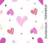 seamless tiling romantic vector ... | Shutterstock .eps vector #709448929