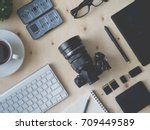 top view of photographer work... | Shutterstock . vector #709449589