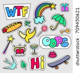 set of colorful cartoon badges. ... | Shutterstock .eps vector #709450621