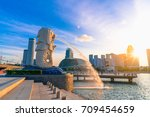 singapore july 9  2016  merlion ... | Shutterstock . vector #709454659