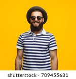 portrait of young hipster man... | Shutterstock . vector #709455631