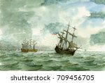 tall ship  watercolor painting | Shutterstock . vector #709456705