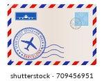 envelope with barcelona stamp.... | Shutterstock .eps vector #709456951