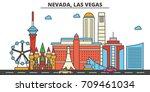 nevada  las vegas.city skyline  ... | Shutterstock .eps vector #709461034