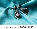 elegant black onyx earrings on... | Shutterstock . vector #709463155