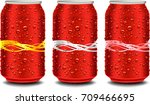 red aluminum tin cans with many ... | Shutterstock .eps vector #709466695