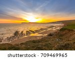 sunset landscape and cliffs on... | Shutterstock . vector #709469965
