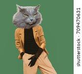 cat vintage clothing. art... | Shutterstock . vector #709470631