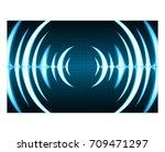 sound waves oscillating dark... | Shutterstock .eps vector #709471297