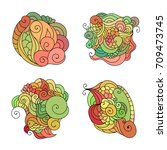 set of colorful zentangle red ... | Shutterstock .eps vector #709473745