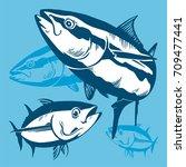 tuna fish symbol composition on ... | Shutterstock .eps vector #709477441