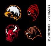 furious bull  bear  eagle and... | Shutterstock .eps vector #709482391
