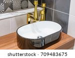 bathroom interior with sink and ... | Shutterstock . vector #709483675
