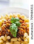 vegetarian vegetable pasta... | Shutterstock . vector #709484311