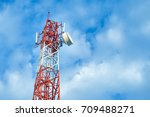Telecom Tower Pole With White...