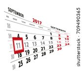 11 september highlighted on... | Shutterstock .eps vector #709490365