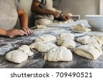 baker preparing bread. close up ... | Shutterstock . vector #709490521