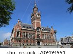 the town hall of dunkirk and... | Shutterstock . vector #709494991