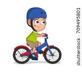 boy riding bike | Shutterstock .eps vector #709495801