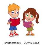 boy and girl reading books | Shutterstock .eps vector #709496365
