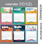 doodle calendar design 2018... | Shutterstock .eps vector #709498339