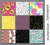 memphis seamless background set ...   Shutterstock .eps vector #709498999