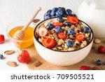 healthy breakfast concept with... | Shutterstock . vector #709505521