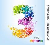 happy birthday postcard three... | Shutterstock .eps vector #709508671