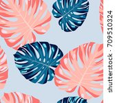 seamless pattern with palm... | Shutterstock .eps vector #709510324