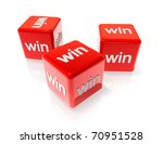 three 3d red dices with win... | Shutterstock . vector #70951528