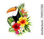 toucans and flowers gradient... | Shutterstock .eps vector #709517281