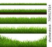 grass border big set | Shutterstock . vector #709517314