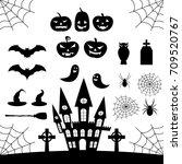 vector set happy halloween | Shutterstock .eps vector #709520767