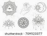mandala set  lotus flower. moon ... | Shutterstock .eps vector #709523377