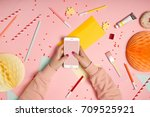 top view flat lay with hands... | Shutterstock . vector #709525921