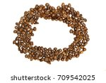 circle frame of coffee beans on ... | Shutterstock . vector #709542025