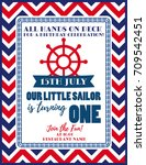 nautical sailor theme printable ... | Shutterstock .eps vector #709542451