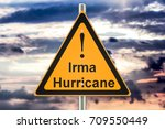 hurricane irma road sign... | Shutterstock . vector #709550449