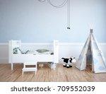 blue room interior. 3d...   Shutterstock . vector #709552039