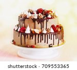 festive two tier cake with... | Shutterstock . vector #709553365