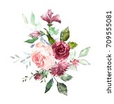 watercolor flowers. hand... | Shutterstock . vector #709555081