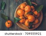 Ripe Mandarine With Leaves ...