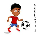 african american boy playing... | Shutterstock .eps vector #709556119