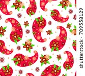 seamless paisley  pattern ...   Shutterstock .eps vector #709558129