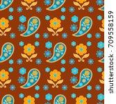 seamless paisley  pattern ...   Shutterstock .eps vector #709558159
