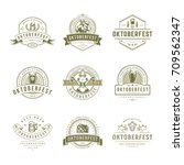 oktoberfest labels  badges and... | Shutterstock .eps vector #709562347